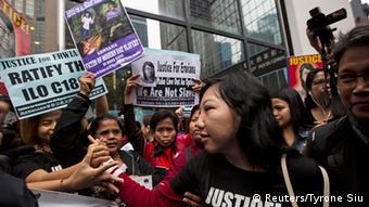 China Hongkong Prozess 6 Jahre Haft wegen Misshandlung einer Putzfrau Demonstration