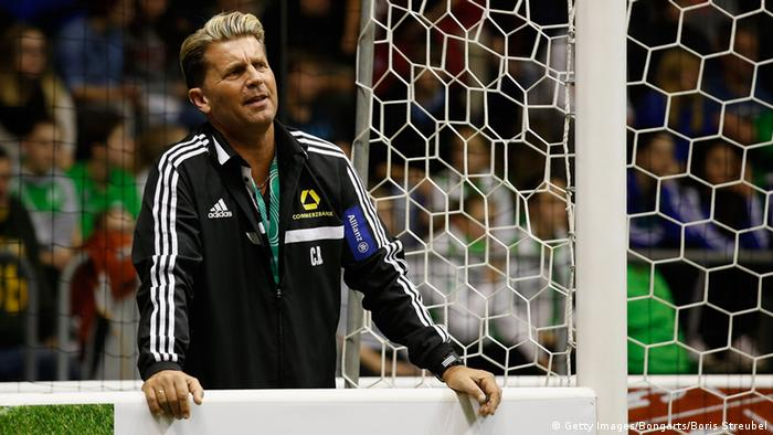 FFC Frankfurt coach watches his team during an indoor tournament in January 2015