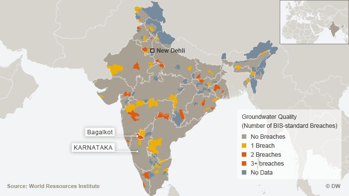 Karte Grundwasserqualität in Indien