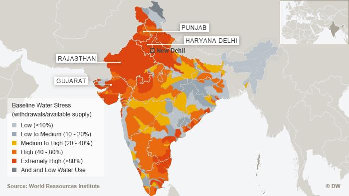 Karte Wasserknappheit in Indien englisch