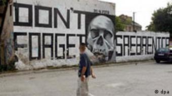 Grafitti on wall in Srebrenica