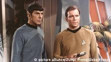 Feb 27, 2015 - Los Angeles, California, U.S. - FILE - LEONARD NIMOY, the actor who won a global following as Mr. Spock, the alien first officer of the Starship Enterprise in the television and movie series ''Star Trek,'' died on Friday morning at his home in the Bel Air, Los Angeles. He was 83. His wife, Susan Bay Nimoy, confirmed his death, saying the cause was end-stage chronic obstructive pulmonary disease. Pictured: Jan. 1, 1966 - ''Star Trek''TV series actors Leonard Nimoy as Spock And William Shatner as Caption Kirk. (Credit: © Globe-ZUMA