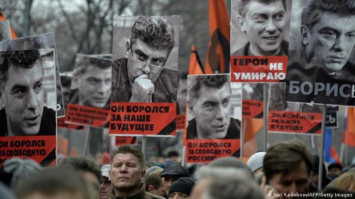 Russland Moskau Trauermarsch Boris Nemzow
