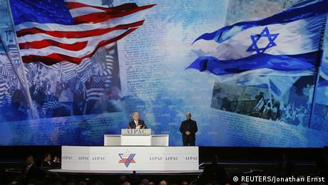 Israeli Premier Benjamin Netanjahu on the stage at this year's AIPAC conference