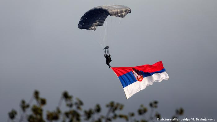 Parajumper with Serbian flag