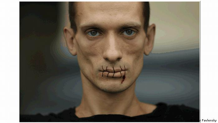 Artist Pjotr Pavlensky with his lips sewn shut, Copyright: Pjotr Pavlensky