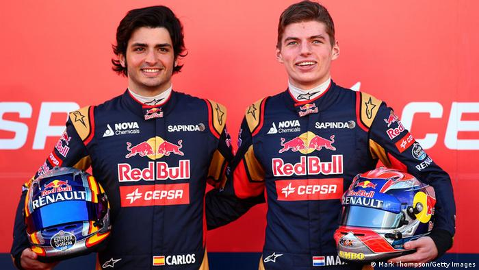 Max Verstappen (right) and Carlos Sainz Jr.