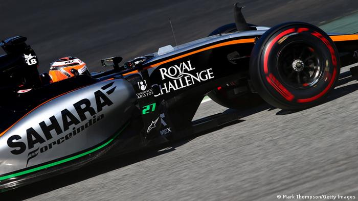 Force India F1 car takes to the track