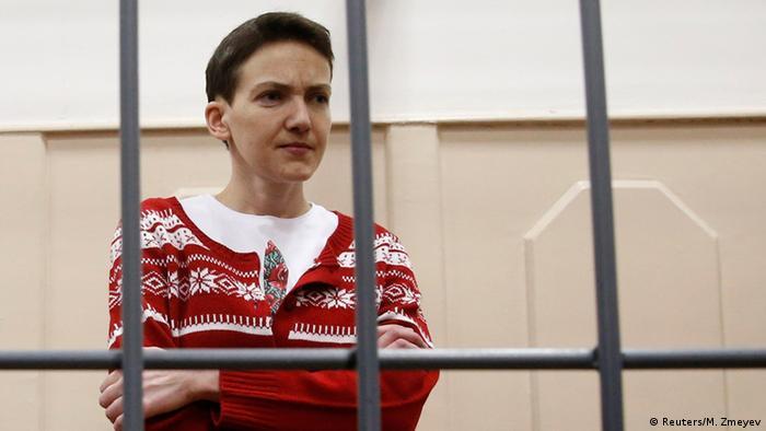 Надежда Савченко во время одного из заседаний суда в Москве в марте 2015 года