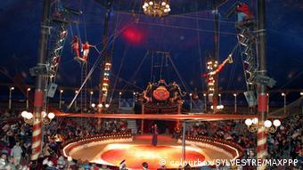 Eine Zirkusmanege mit Trapezgestell