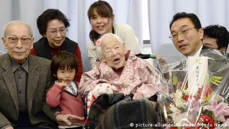 Japan älteste Frau der Welt Misao Okawa (picture-alliance/AP Photo/Kyodo News)