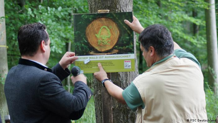 FSC-sign being installed on a stretch of forest in southern Germany