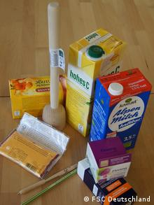 FSC-certified products such as tobacco, juice and a wooden pen