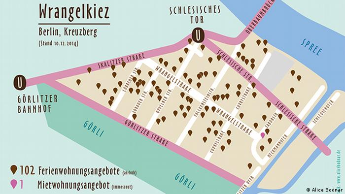 The brown flags represent vacant holiday lettings in the district (Copyright: Grafik von Alice Bodnar)