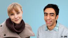 """Gönna Ketels (Deustche Welle, Kultur) und Hossein Kermani (Deustche Welle, Farsi) unterstützen die DW-Aktion """"Wir sind Deutschland""""."""