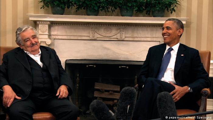 Хосе Мухика на встрече с президентом Бараком Обамой