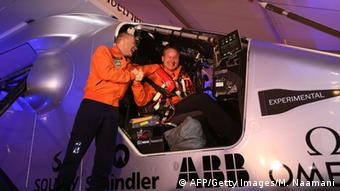 Piccard and Borschberg at the start of the voyage in Abu Dhabi