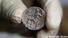 Israel archäologische Entdeckung Münze Alexander der Große
