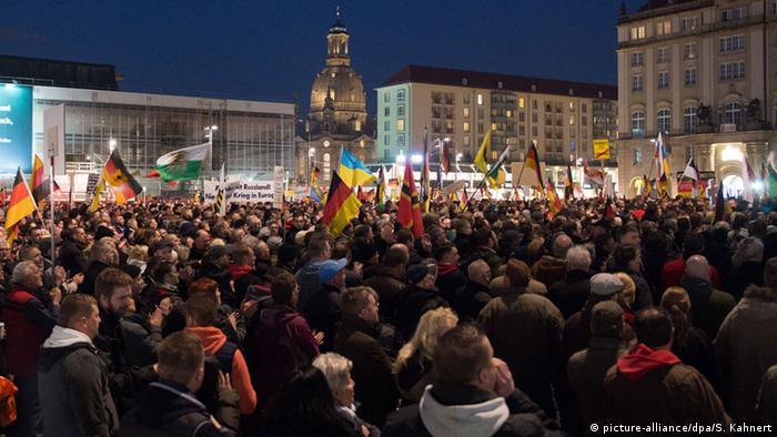 A PEGIDA demonstration in central Dresden