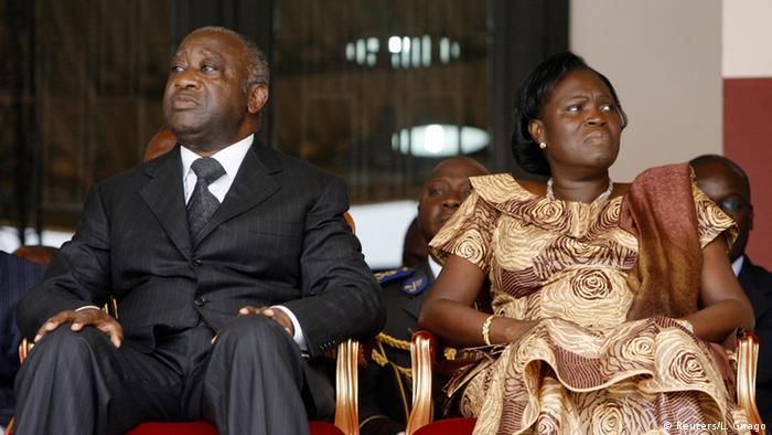 Elfenbeinküste Ex-Präsident Laurent Gbagbo mit seiner Frau Simone