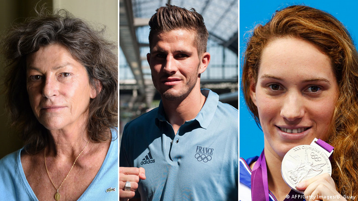 Bildkombo v.l.n.r. Florence Arthaud, Alexis Vastine, Camille Muffat (AFP/Getty Images/B. Guay)