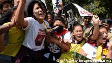 Protest von Exil-Tibetern in der chinesischen Botschaft in Neu-Delhi, Indien