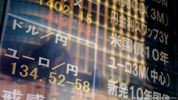 Anzeige des Wechselkurses Euro-Yen an der Börse in Tokio