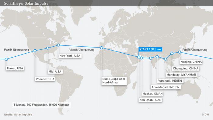 Karte Infografik Solar Impulse 2 Weltumrundung DEU