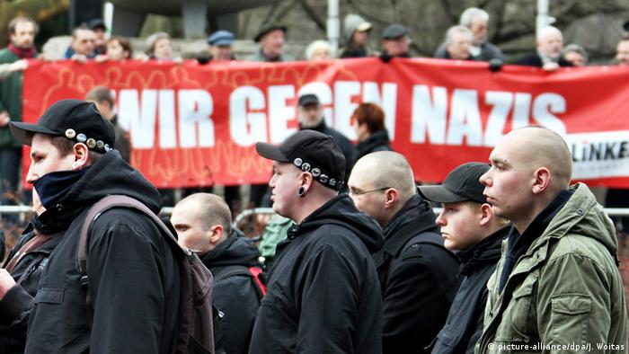 Neonazis march at a demonstration
