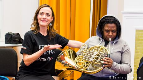 Sarah Willis joins young people at a hip-hop workshop at the Resnick Education Wing in New York's Carnegie Hall.