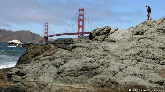 The Golden Gate Bridge, offering one of the world's most stunning views, is anchored in rock