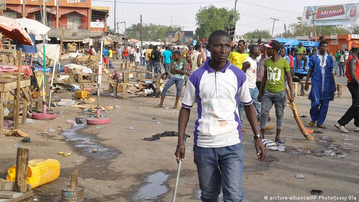 A market in Maiduguri after a suicide bomb attack in March 2015