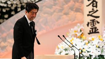 Japan's Prime Minister Shinzo Abe attends the national memorial service for the victims of the March 11, 2011 earthquake and tsunami, in Tokyo March 11, 2015 (Photo: REUTERS/Toru Hanai)