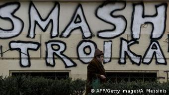 Griechenland Anti-Troika Graffiti in Athen