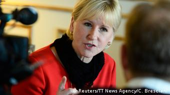 Swedish Foreign Minister Margot Wallstrom speaks during an interview. Außenministerin
