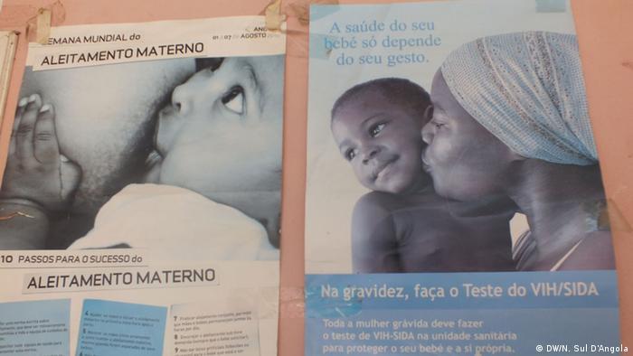 Информационный плакат о ВИЧ о здоровье для матерей. Ангола