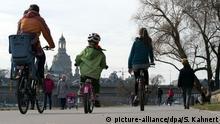 People on bikes in Dresden