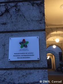 Deutschland Schild Büro des Botschafters der Nationalen Koalition Bassam Abdullah
