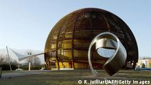 A photo taken on February 10, 2015 shows the Globe of Science and Innovation at the European Organisation for Nuclear Research (CERN) in Meyrin, near Geneva. Excitement is mounting at the world's largest proton smasher, where scientists are close to launching a superpowered hunt for particles that may change our understanding of the Universe. Physicists and engineers are running the final checks on an upgrade that nearly doubled the muscle of the Large Hadron Collider (LHC), which in 2012 unlocked the putative Higgs boson and, with it, a Nobel Prize. The two-year power boost will take experiments into a previously-inaccessible realm that resembles science fiction. AFP PHOTO / RICHARD JUILLIART (Photo credit should read Richard Juilliart/AFP/Getty Images)