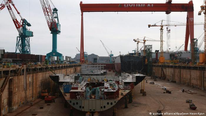 Hyundai shipyard in South Korea