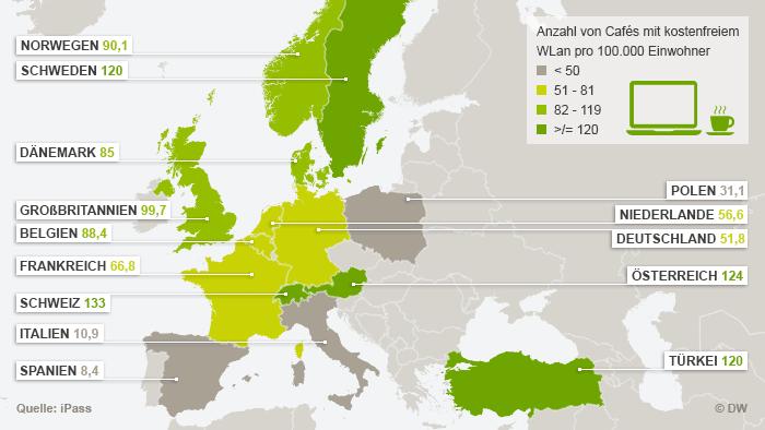 Infografik Anzahl von Cafés mit kostenlosem Wireless Lan in Europa