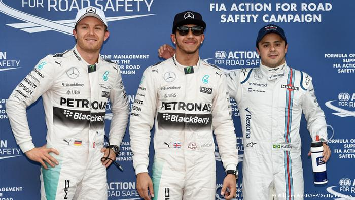 Rosberg, Hamilton and Massa following the qualifying. WEST/AFP/Getty Images
