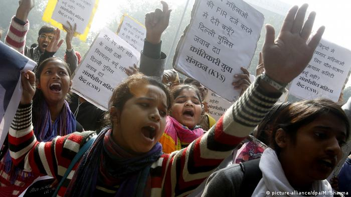 Women in Delhi protest against the police handling of a recent rape case