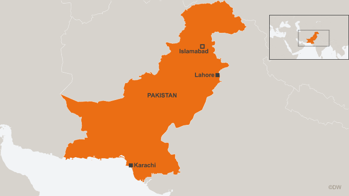 A map showing Pakistan's main cities