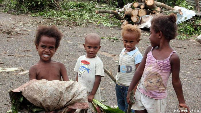 Children after Tropical Cyclone Pam devastates Vanuatu