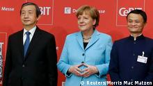 15.03.2015 German Chancellor Angela Merkel, China's Vice Premier Ma Kai (L) and Alibaba founder and chairman Jack Ma pose for a picture during the official opening of the CeBIT trade fair in Hanover March 15, 2015. The world's biggest computer and software fair will open to the public from March 16 to 20. REUTERS/Morris Mac Matzen (GERMANY - Tags: POLITICS BUSINESS SCIENCE TECHNOLOGY BUSINESS TELECOMS)