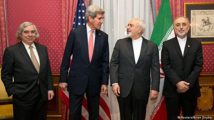 Atomverhandlungen zwischen US-Außenminister John Kerry und iranischem Außenminister Javad Zarif im schweizerischen Lausanne