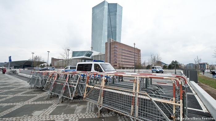 Security preparations ahead of ECB HQ building official opening in March 2015 due to expected Blockupy protest
