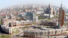 Bildunterschrift:An aerial view of the city of Astana, taken on July 28, 2011. Kazakh capital formerly known as Akmola, until 1998, Tselinograd until 1992 and Akmolinsk until 1961 is the capital and second largest city (after Almaty) of Kazakhstan, with an officially estimated population of 708,794 as of 1 August 2010. After Kazakhstan gained its independence in 1991, the city and the region were renamed 'Akmola', literally meaning 'White Shrine'. In 1995, the city was designated as the future capital of the newly-independent country, and the capital was officially moved from Almaty on December 10, 1997. AFP PHOTO/ STANISLAV FILIPPOV (Photo credit should read STANISLAV FILIPPOV/AFP/Getty Images)