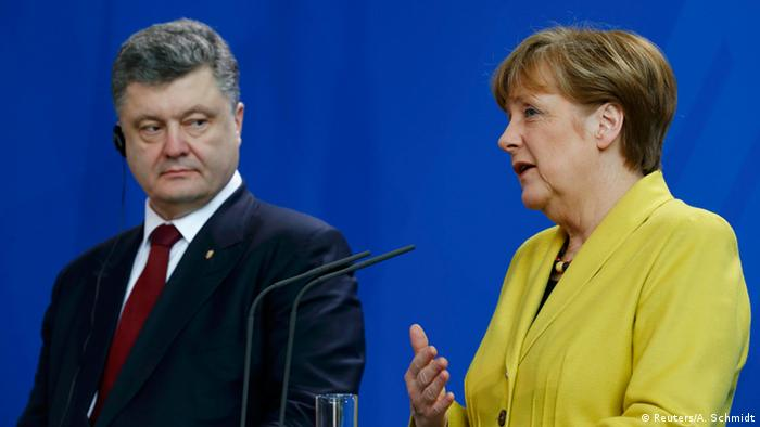 Poroschenko and Merkel hold a joint press conference in Berlin, March 16